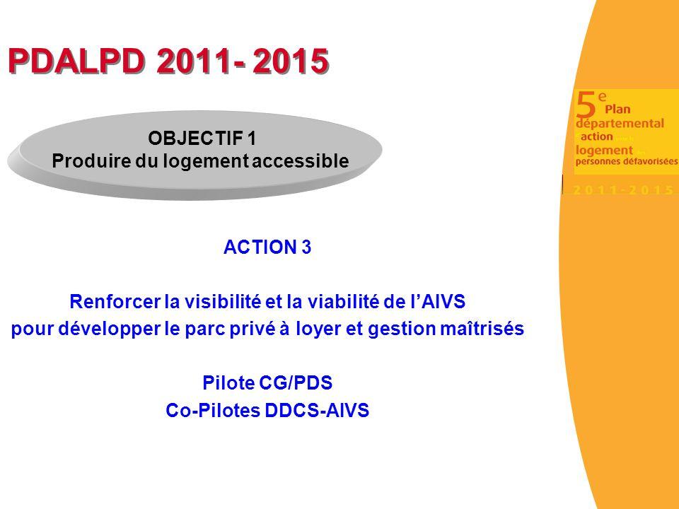PDALPD 2011- 2015 ACTION 3 Renforcer la visibilité et la viabilité de l'AIVS pour développer le parc privé à loyer et gestion maîtrisés Pilote CG/PDS