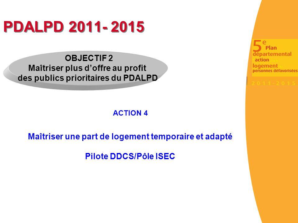 PDALPD 2011- 2015 ACTION 4 Maîtriser une part de logement temporaire et adapté Pilote DDCS/Pôle ISEC OBJECTIF 2 Maîtriser plus d'offre au profit des p