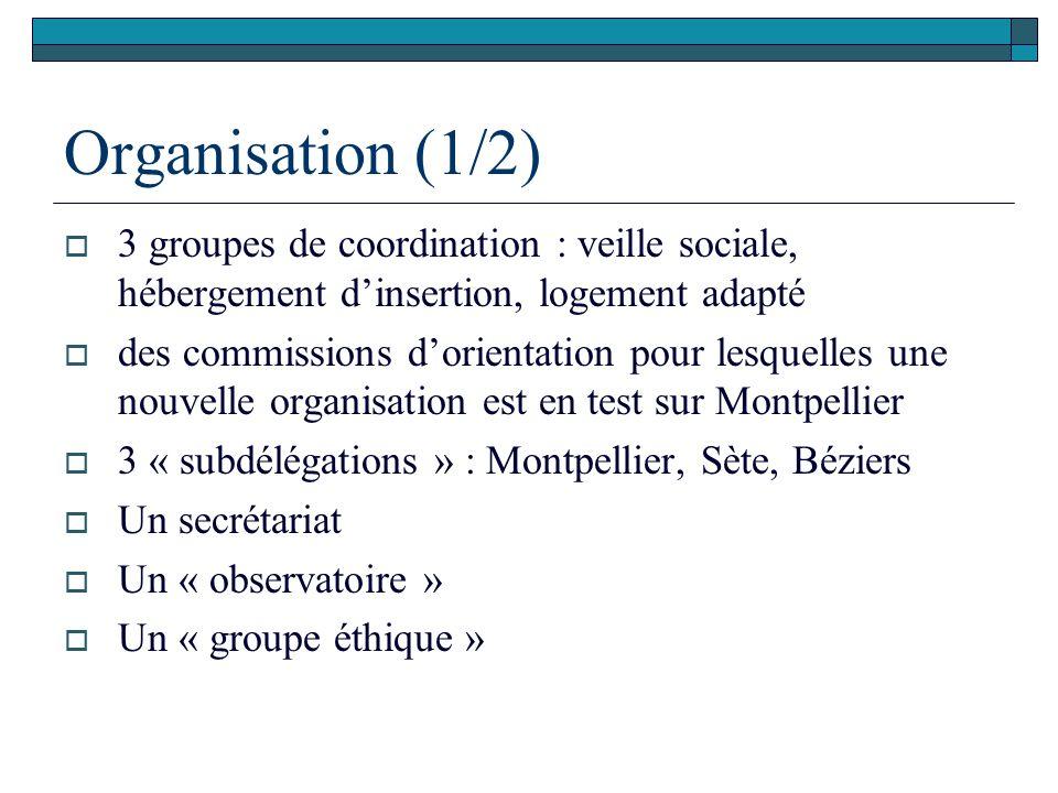 Organisation (1/2)  3 groupes de coordination : veille sociale, hébergement d'insertion, logement adapté  des commissions d'orientation pour lesquel