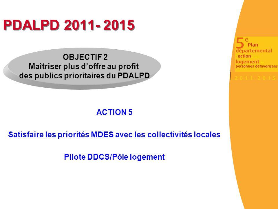 PDALPD 2011- 2015 ACTION 5 Satisfaire les priorités MDES avec les collectivités locales Pilote DDCS/Pôle logement OBJECTIF 2 Maîtriser plus d'offre au