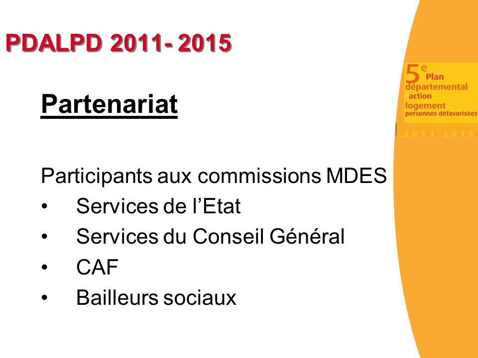 PDALPD 2011- 2015 Partenariat Participants aux commissions MDES Services de l'Etat Services du Conseil Général CAF Bailleurs sociaux