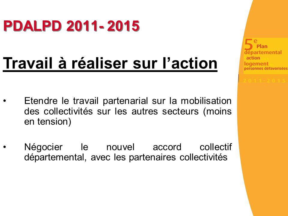 PDALPD 2011- 2015 Travail à réaliser sur l'action Etendre le travail partenarial sur la mobilisation des collectivités sur les autres secteurs (moins