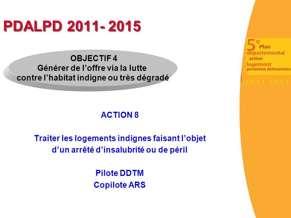 PDALPD 2011- 2015 ACTION 8 Traiter les logements indignes faisant l'objet d'un arrêté d'insalubrité ou de péril Pilote DDTM Copilote ARS OBJECTIF 4 Gé