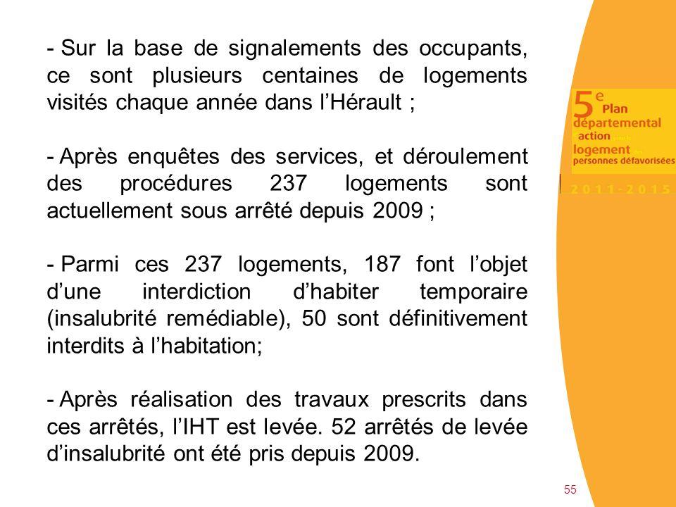 55 - Sur la base de signalements des occupants, ce sont plusieurs centaines de logements visités chaque année dans l'Hérault ; - Après enquêtes des se