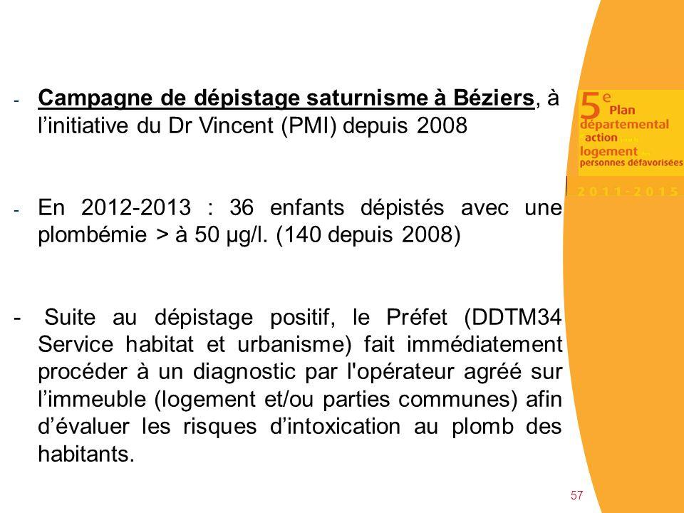 57 - Campagne de dépistage saturnisme à Béziers, à l'initiative du Dr Vincent (PMI) depuis 2008 - En 2012-2013 : 36 enfants dépistés avec une plombémi