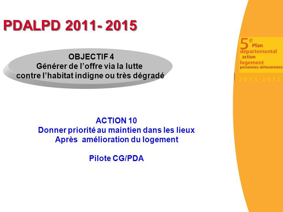PDALPD 2011- 2015 ACTION 10 Donner priorité au maintien dans les lieux Après amélioration du logement Pilote CG/PDA OBJECTIF 4 Générer de l'offre via