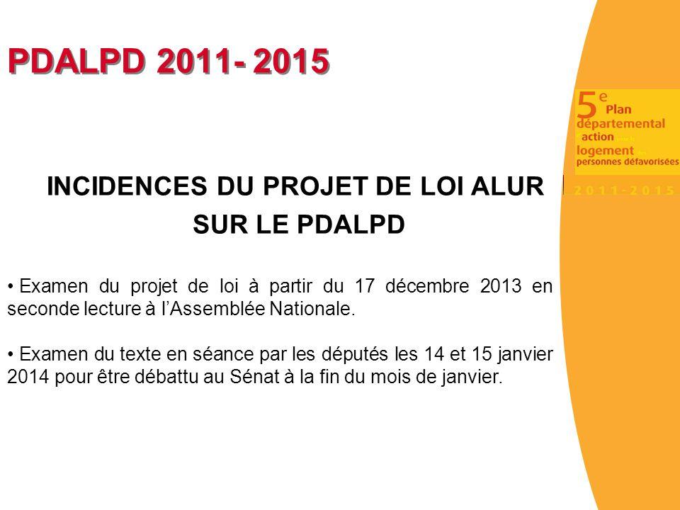 PDALPD 2011- 2015 INCIDENCES DU PROJET DE LOI ALUR SUR LE PDALPD Examen du projet de loi à partir du 17 décembre 2013 en seconde lecture à l'Assemblée