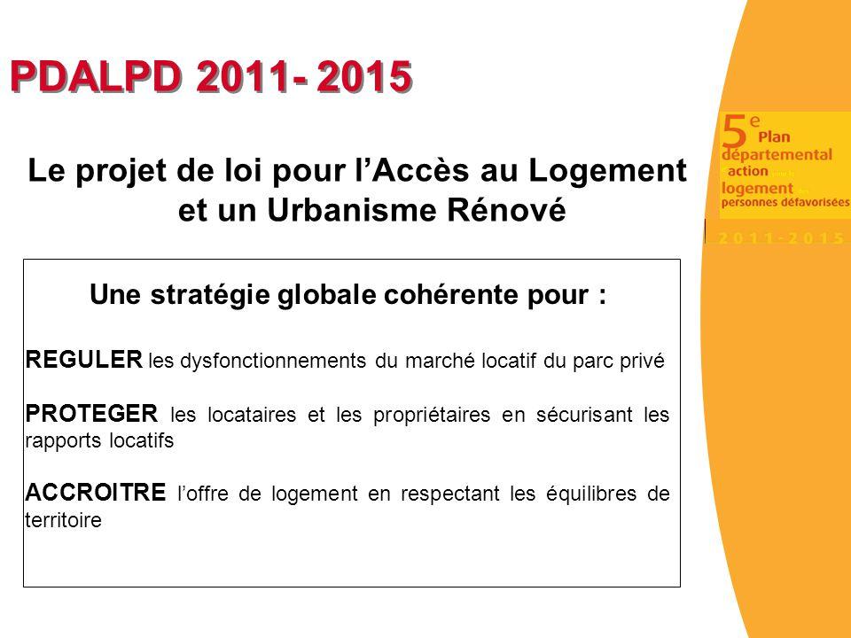 PDALPD 2011- 2015 Le projet de loi pour l'Accès au Logement et un Urbanisme Rénové Une stratégie globale cohérente pour : REGULER les dysfonctionnemen