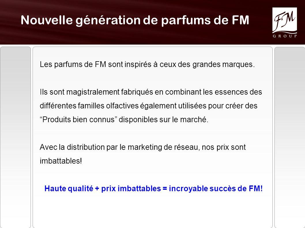 Nouvelle génération de parfums de FM Les parfums de FM sont inspirés à ceux des grandes marques.