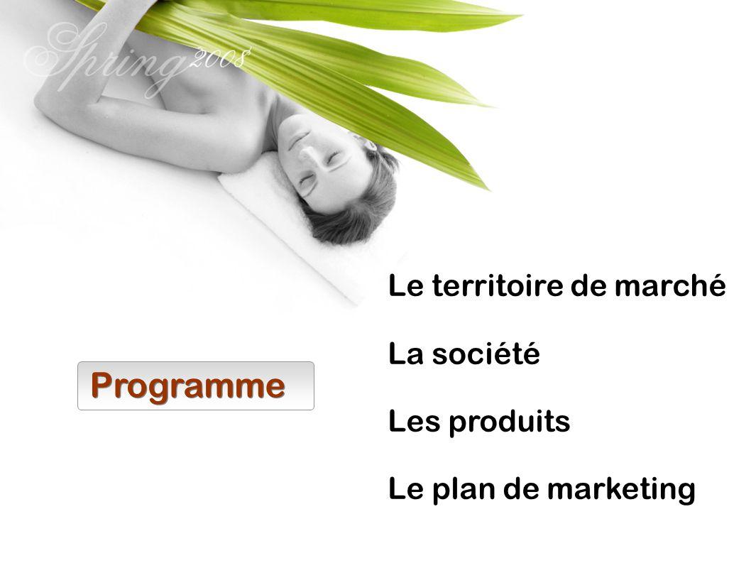 Programme Le territoire de marché La société Les produits Le plan de marketing