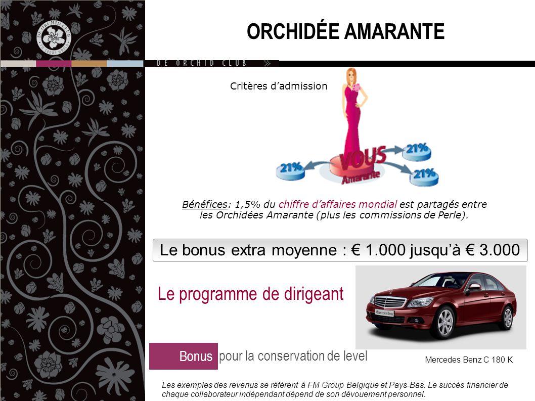 Le bonus extra moyenne : € 1.000 jusqu'à € 3.000 ORCHIDÉE AMARANTE Bonus pour la conservation de level Le programme de dirigeant Mercedes Benz C 180 K Les exemples des revenus se réfèrent à FM Group Belgique et Pays-Bas.