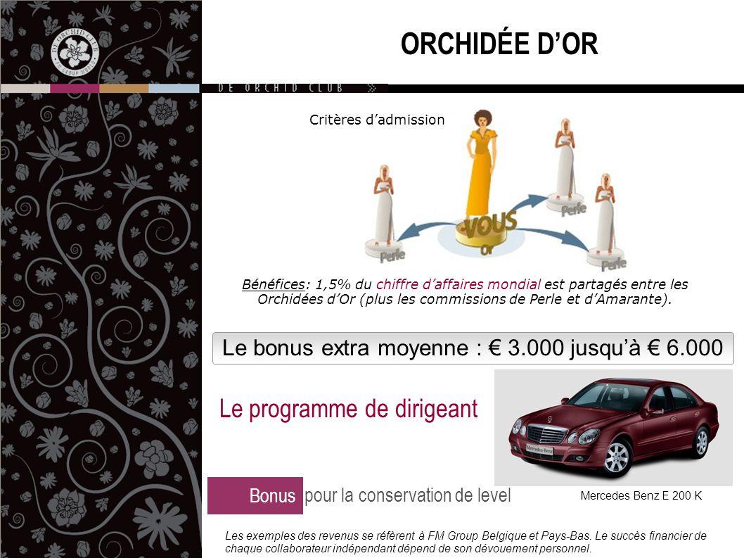 Le bonus extra moyenne : € 3.000 jusqu'à € 6.000 ORCHIDÉE D'OR Bonus pour la conservation de level Le programme de dirigeant Mercedes Benz E 200 K Les exemples des revenus se réfèrent à FM Group Belgique et Pays-Bas.