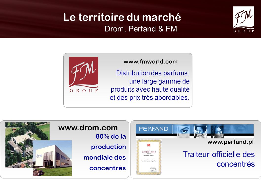 Le territoire du marché Drom, Perfand & FM www.drom.com www.perfand.pl 80% de la production mondiale des concentrés Traiteur officielle des concentrés www.fmworld.com Distribution des parfums: une large gamme de produits avec haute qualité et des prix très abordables.