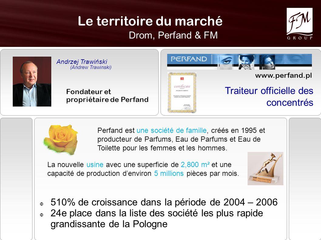 Le territoire du marché Drom, Perfand & FM www.perfand.pl Traiteur officielle des concentrés Andrzej Trawiński (Andrew Trawinski) Fondateur et propriétaire de Perfand Perfand est une société de famille, créés en 1995 et producteur de Parfums, Eau de Parfums et Eau de Toilette pour les femmes et les hommes.