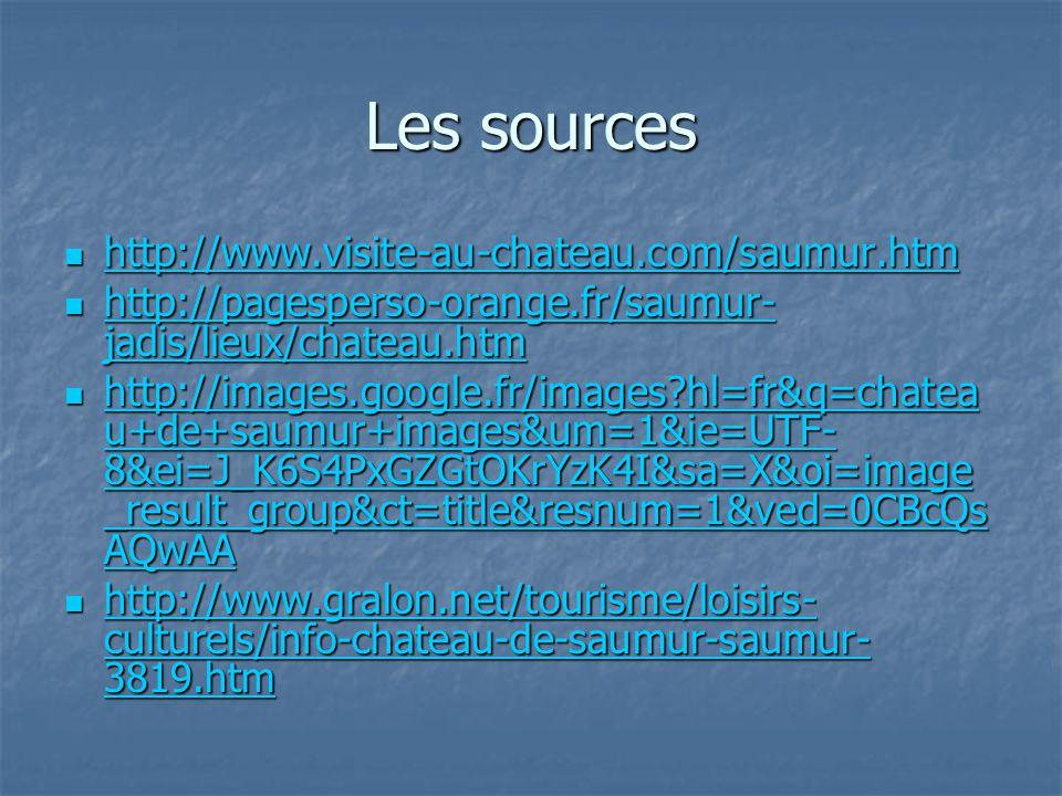 Les sources http://www.visite-au-chateau.com/saumur.htm http://www.visite-au-chateau.com/saumur.htm http://www.visite-au-chateau.com/saumur.htm http:/