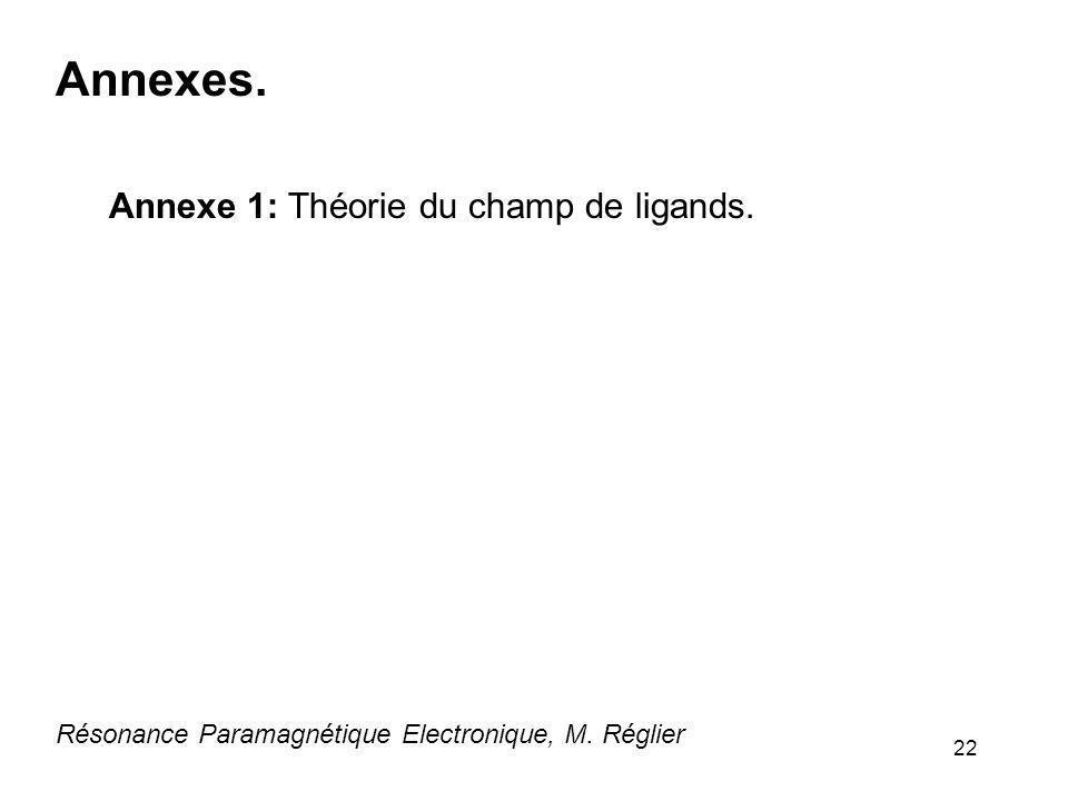 22 Résonance Paramagnétique Electronique, M. Réglier Annexes. Annexe 1: Théorie du champ de ligands.