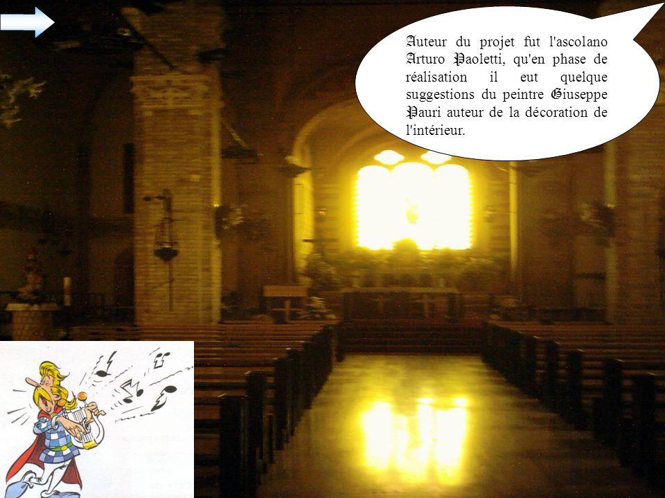 A uteur du projet fut l ascolano A rturo P aoletti, qu en phase de réalisation il eut quelque suggestions du peintre G iuseppe P auri auteur de la décoration de l intérieur.