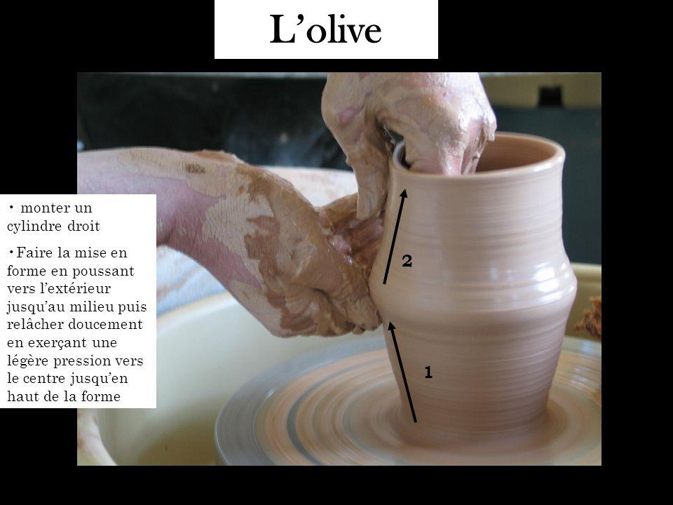 L'olive monter un cylindre droit Faire la mise en forme en poussant vers l'extérieur jusqu'au milieu puis relâcher doucement en exerçant une légère pression vers le centre jusqu'en haut de la forme 1 2