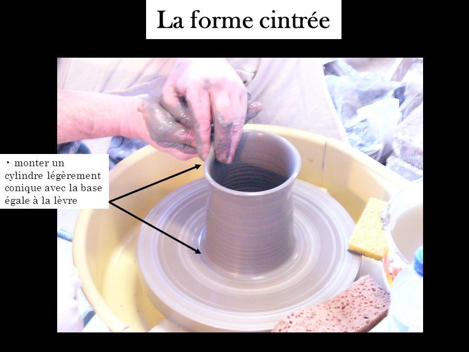 La forme cintrée monter un cylindre légèrement conique avec la base égale à la lèvre
