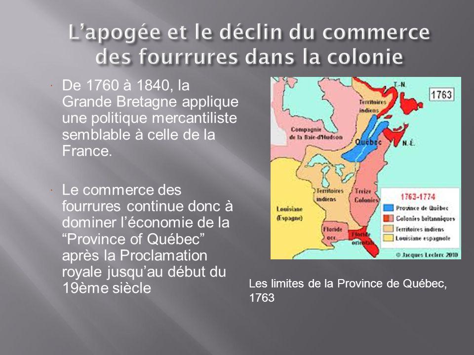  Trois changements de territoires ont affecté le commerce des fourrures:  La Proclamation royale (1763) réserve le territoire des grands lacs pour les autochtones, seul des marchands avec permis peuvent s'y rendre  L'Acte de Québec (1774) inclue les Grands Lacs au territoire de la Province de Québec  Le Traité de Versailles (1783) octroie les territoires au sud des Grands Lacs aux États-Unis = Les marchands de Montréal doivent aller vers le Nord-Ouest afin de trouver de nouvelles sources de fourrures.