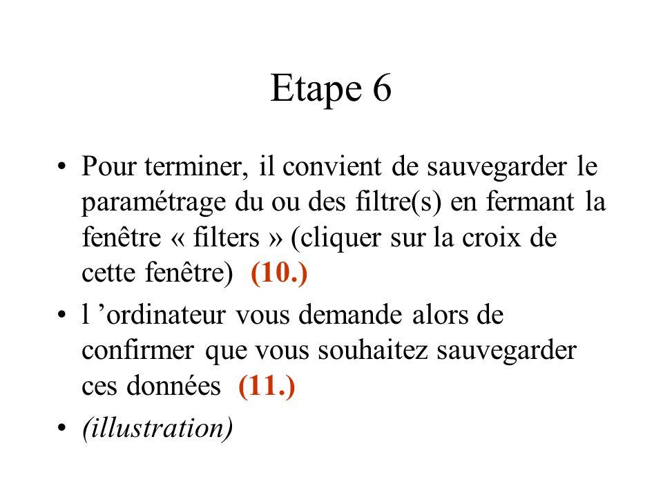 Etape 6 Pour terminer, il convient de sauvegarder le paramétrage du ou des filtre(s) en fermant la fenêtre « filters » (cliquer sur la croix de cette
