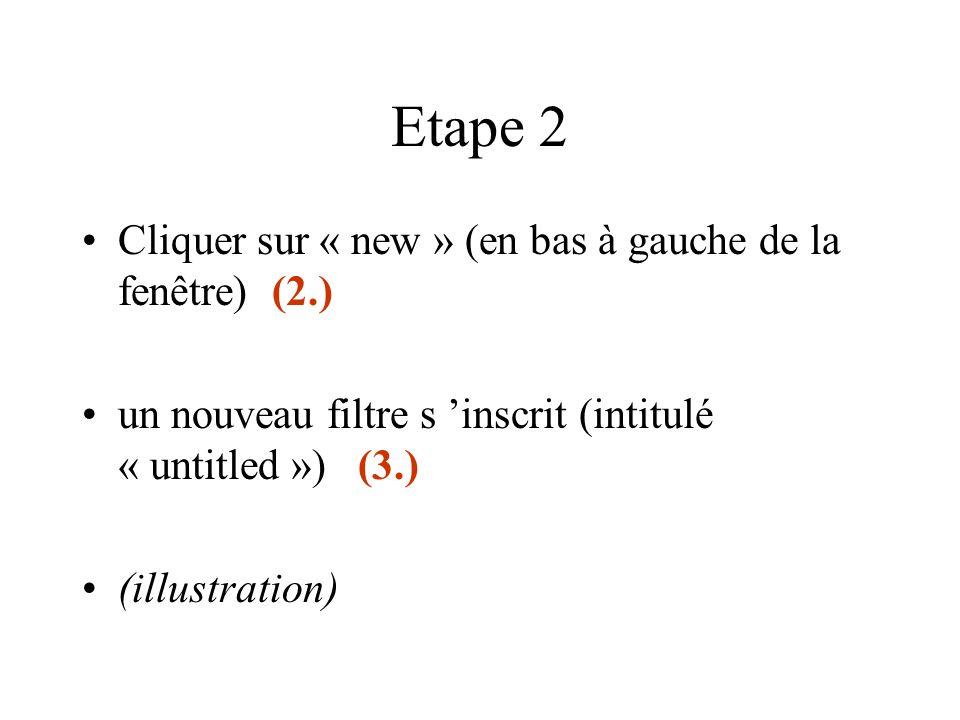 (2.) Cliquer sur « new » (3.) L 'intitulé du nouveau filtre s 'affiche
