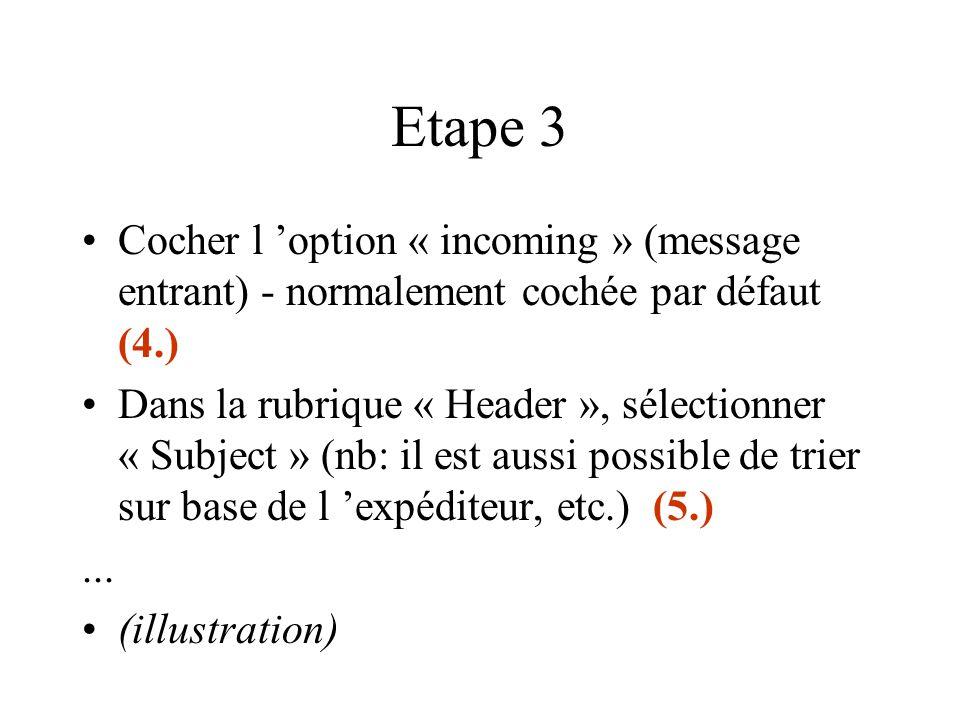 Etape 3 Cocher l 'option « incoming » (message entrant) - normalement cochée par défaut (4.) Dans la rubrique « Header », sélectionner « Subject » (nb