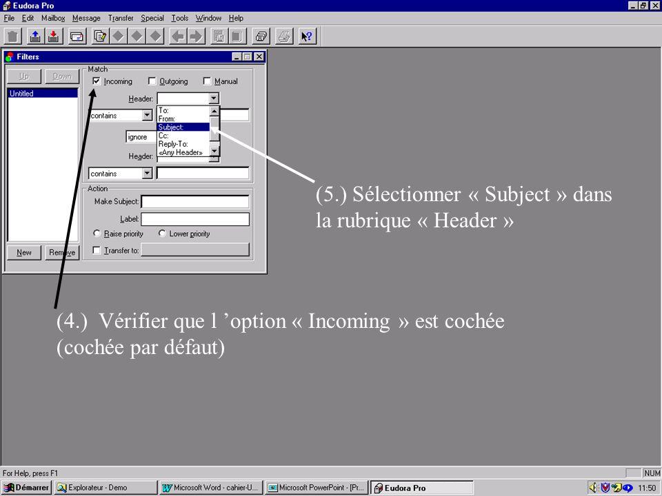 Etape 3 (suite) Dans la fenêtre située sous la fenêtre « Header », choisir l 'option « contains » (nb: d 'autres possibilités de filtrage sont offertes) (6.) Dans la fenêtre située à droite, introduire les termes de sélection (dans l 'exemple « *info* ») (7.) (illustrations)