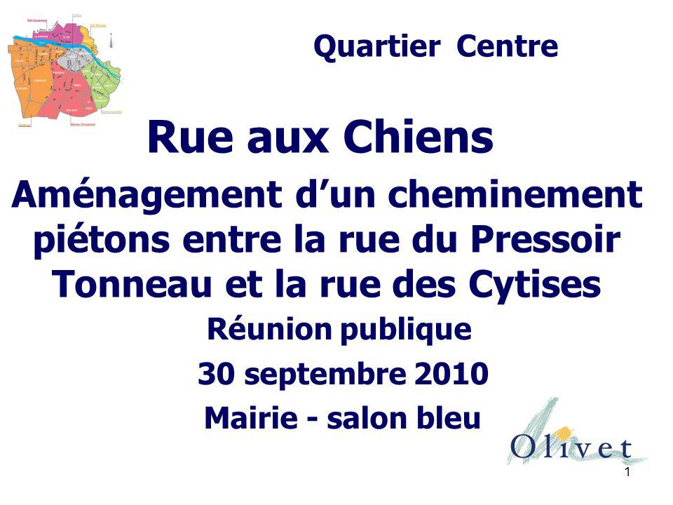 1 Rue aux Chiens Aménagement d'un cheminement piétons entre la rue du Pressoir Tonneau et la rue des Cytises Quartier Centre Réunion publique 30 septembre 2010 Mairie - salon bleu