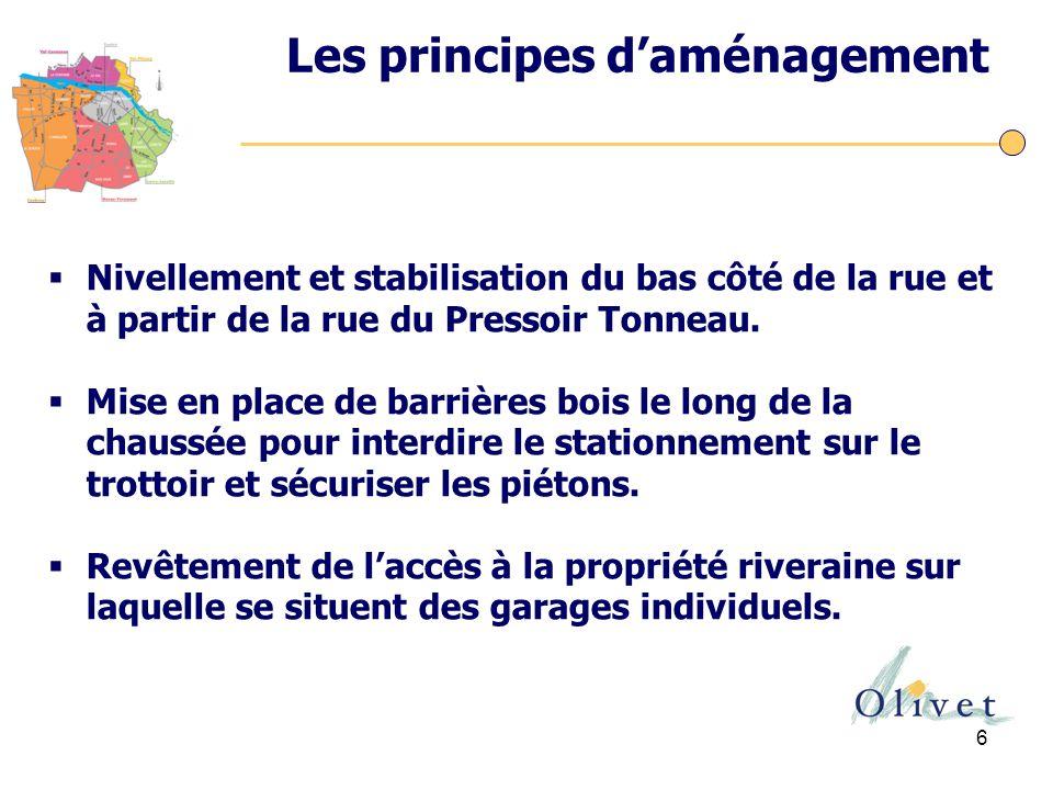 6 Les principes d'aménagement  Nivellement et stabilisation du bas côté de la rue et à partir de la rue du Pressoir Tonneau.