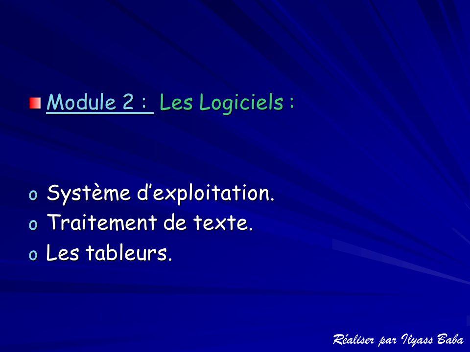 Module 2 : L L L Les Logiciels : oSoSoSoSystème d'exploitation. oToToToTraitement de texte. oLoLoLoLes tableurs.