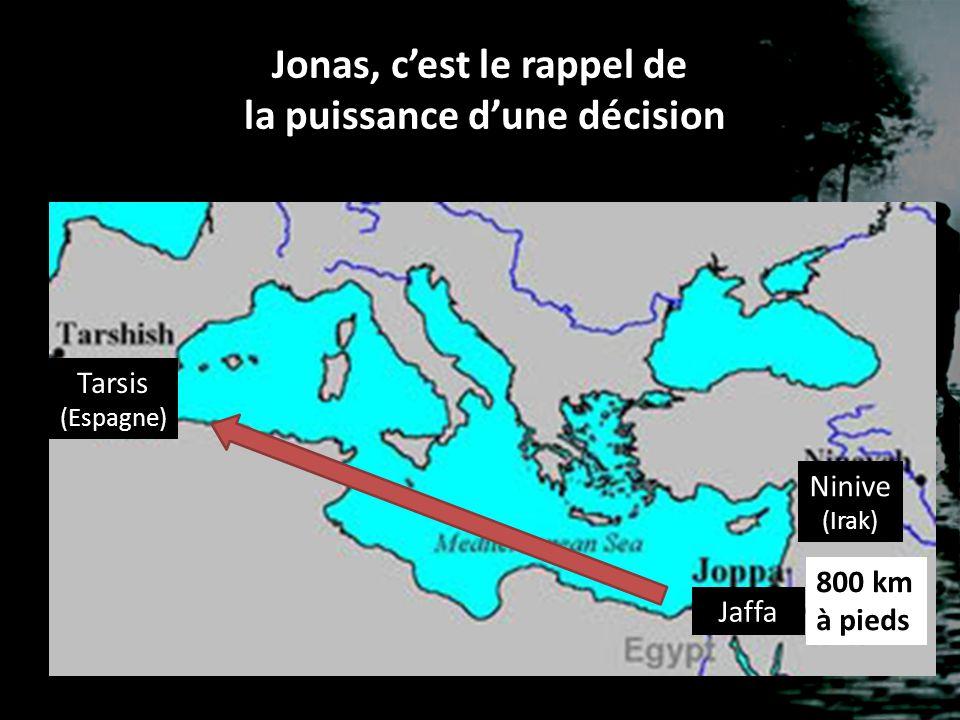 Jonas, c'est le rappel de la puissance d'une décision Jaffa Tarsis (Espagne) Ninive (Irak) 800 km à pieds