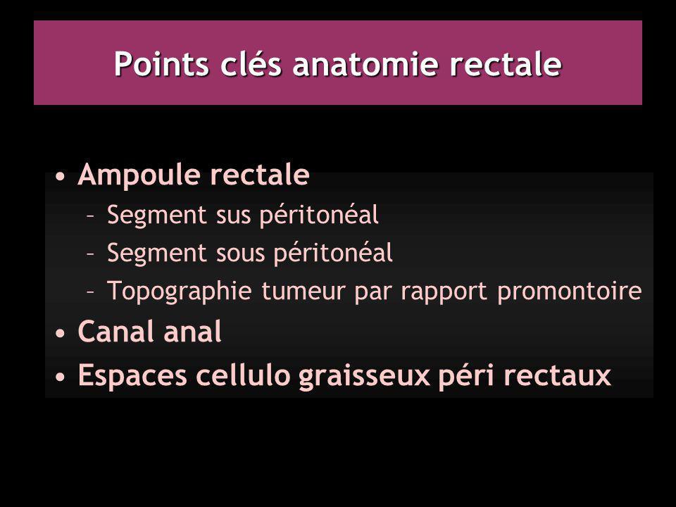 Points clés anatomie rectale Ampoule rectale –Segment sus péritonéal –Segment sous péritonéal –Topographie tumeur par rapport promontoire Canal anal E