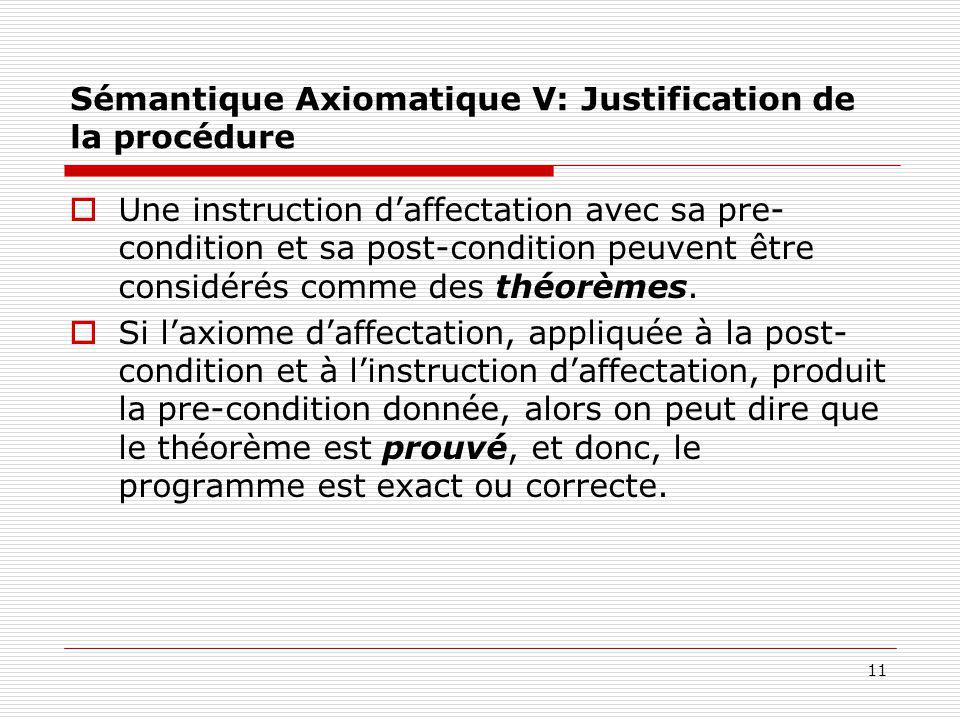 11 Sémantique Axiomatique V: Justification de la procédure  Une instruction d'affectation avec sa pre- condition et sa post-condition peuvent être co