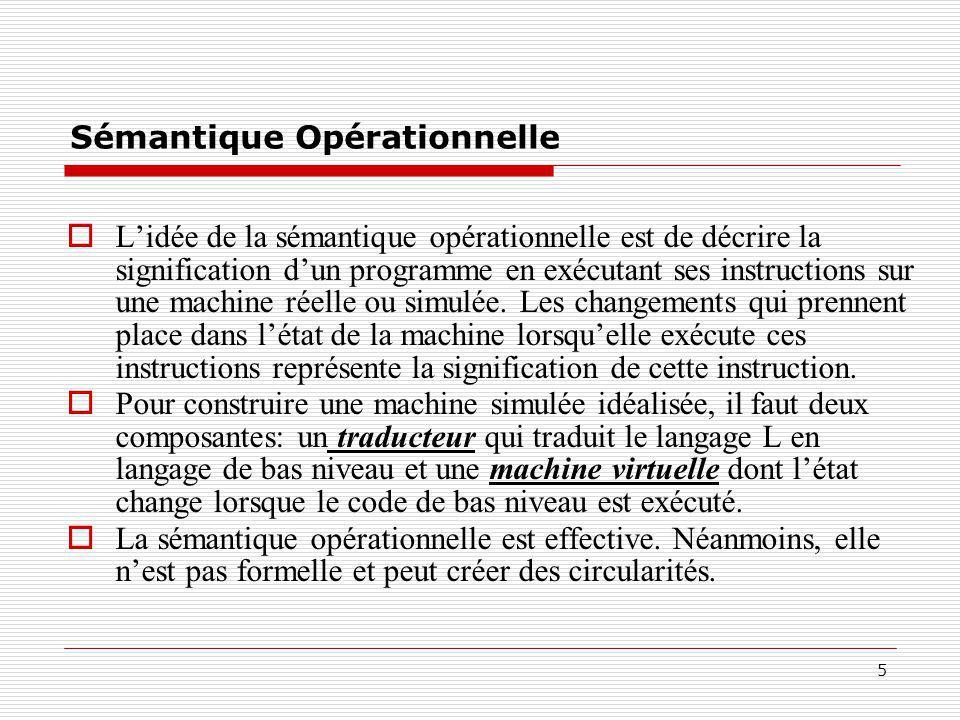5 Sémantique Opérationnelle  L'idée de la sémantique opérationnelle est de décrire la signification d'un programme en exécutant ses instructions sur