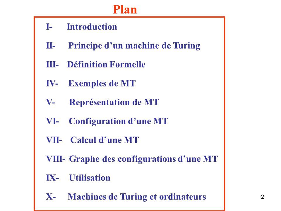 2 Plan I- Introduction III- Définition Formelle VII- Calcul d'une MT VI- Configuration d'une MT II- Principe d'un machine de Turing IV- Exemples de MT VIII- Graphe des configurations d'une MT V- Représentation de MT IX- Utilisation X- Machines de Turing et ordinateurs