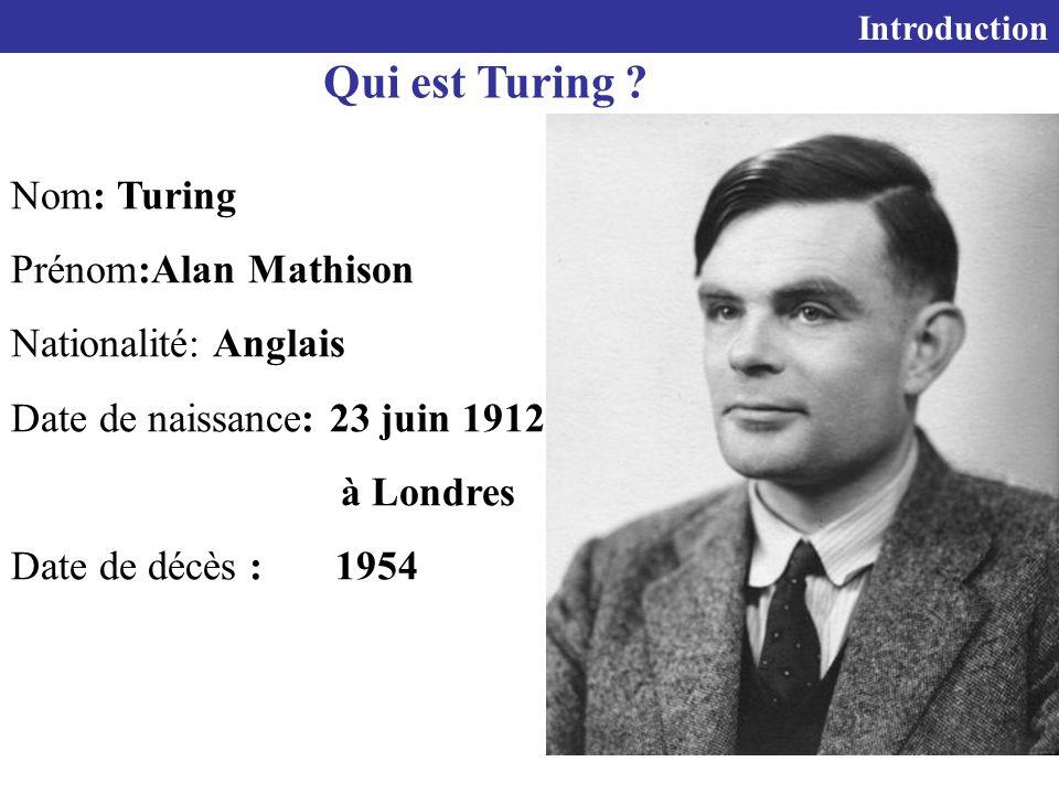 5 Nom: Turing Prénom:Alan Mathison Nationalité: Anglais Date de naissance: 23 juin 1912 à Londres Date de décès : 1954 Introduction Qui est Turing ?