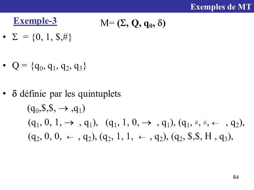 64 Exemple-3  = {0, 1, $,#} Q = {q 0, q 1, q 2, q 3 }  définie par les quintuplets (q 0,$,$, ,q 1 ) (q 1, 0, 1, , q 1 ), (q 1, 1, 0, , q 1 ), (q 1, #, #, , q 2 ), (q 2, 0, 0, , q 2 ), (q 2, 1, 1, , q 2 ), (q 2, $,$, H, q 3 ), M= ( , Q, q 0,  ) Exemples de MT