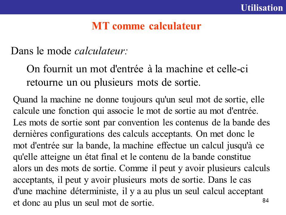 84 Quand la machine ne donne toujours qu un seul mot de sortie, elle calcule une fonction qui associe le mot de sortie au mot d entrée.
