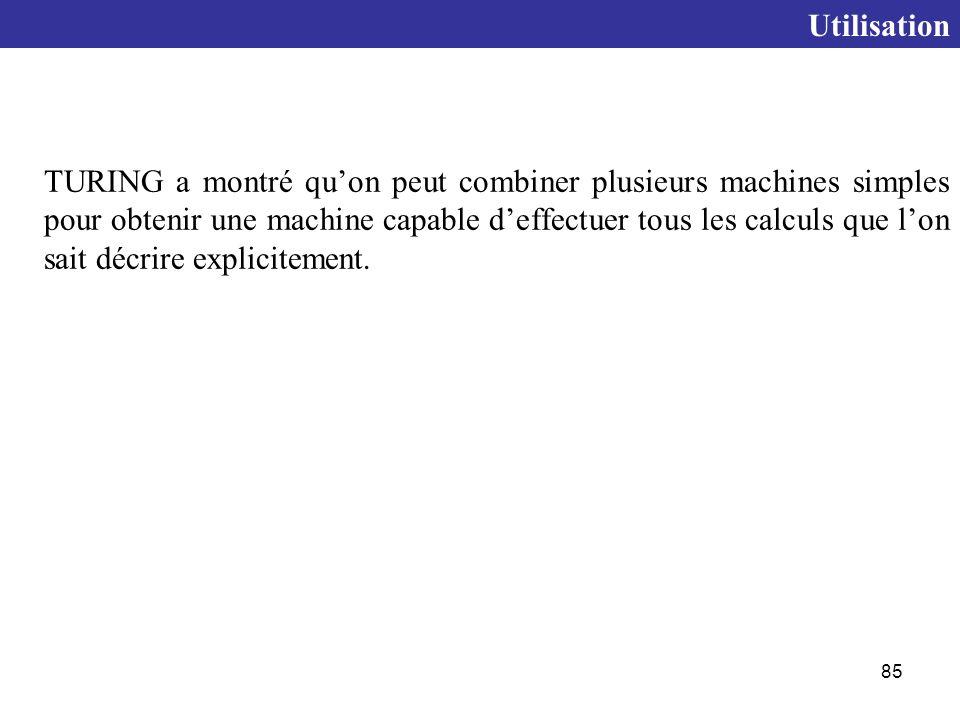 85 TURING a montré qu'on peut combiner plusieurs machines simples pour obtenir une machine capable d'effectuer tous les calculs que l'on sait décrire explicitement.