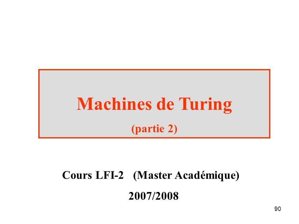 90 Machines de Turing (partie 2) Cours LFI-2 (Master Académique) 2007/2008