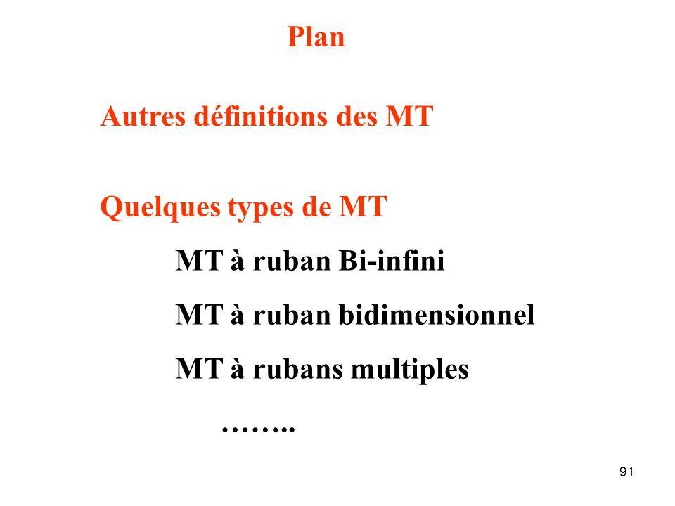 91 Plan Quelques types de MT MT à ruban Bi-infini MT à ruban bidimensionnel MT à rubans multiples ……..