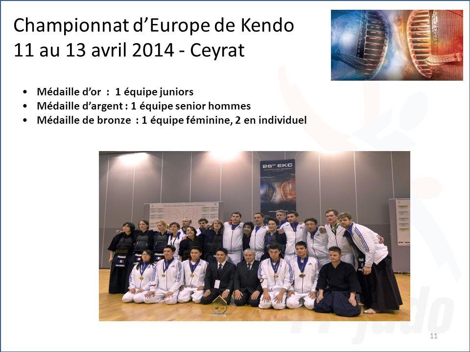 11 Championnat d'Europe de Kendo 11 au 13 avril 2014 - Ceyrat Médaille d'or : 1 équipe juniors Médaille d'argent : 1 équipe senior hommes Médaille de bronze : 1 équipe féminine, 2 en individuel