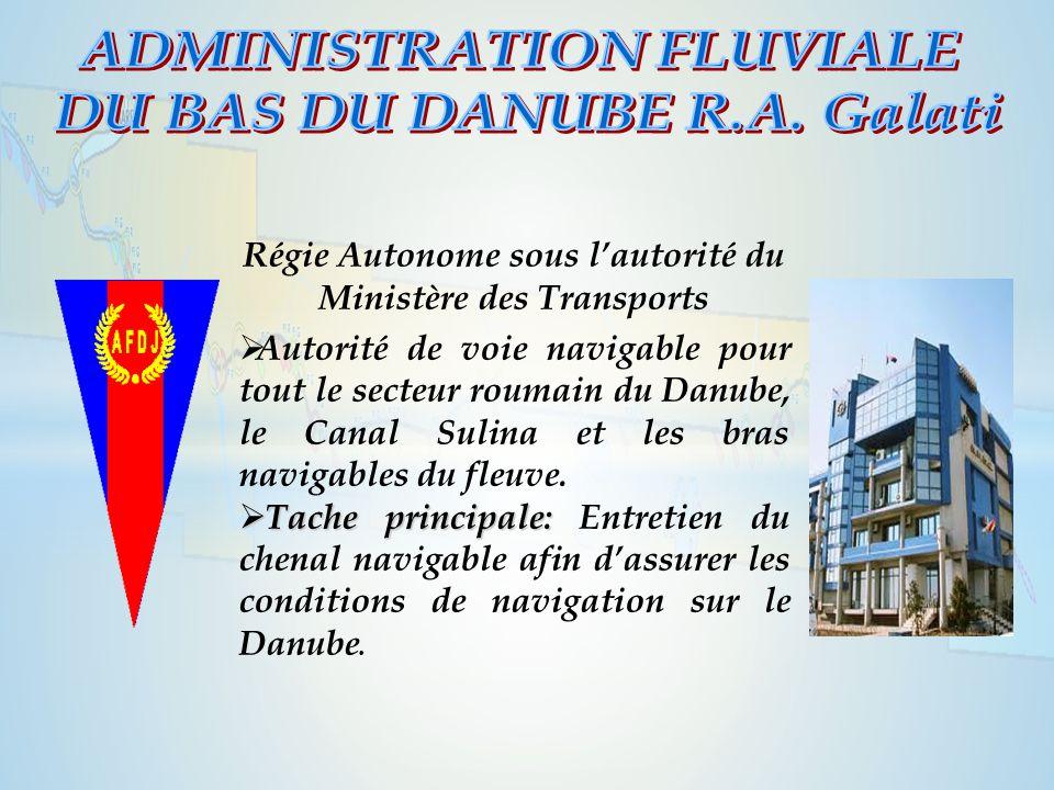 Régie Autonome sous l'autorité du Ministère des Transports  Autorité de voie navigable pour tout le secteur roumain du Danube, le Canal Sulina et les