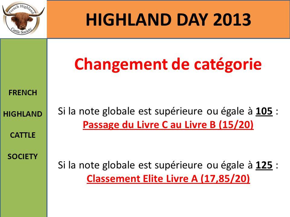 HIGHLAND DAY 2013 FRENCH HIGHLAND CATTLE SOCIETY Changement de catégorie Si la note globale est supérieure ou égale à 105 : Passage du Livre C au Livr