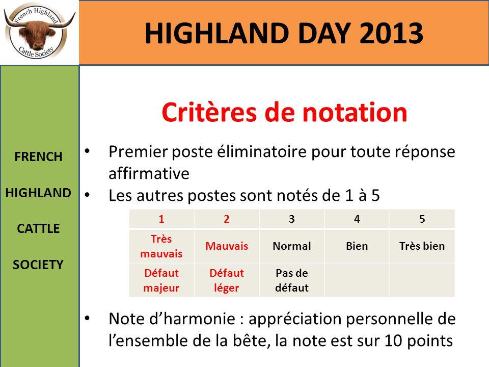 Critères de notation HIGHLAND DAY 2013 FRENCH HIGHLAND CATTLE SOCIETY Premier poste éliminatoire pour toute réponse affirmative Les autres postes sont