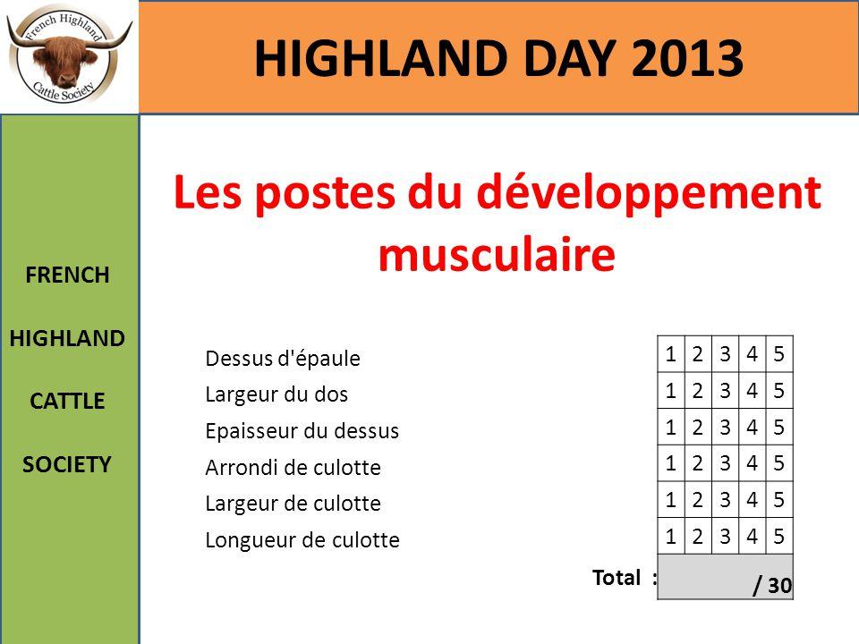 Les postes du développement musculaire HIGHLAND DAY 2013 FRENCH HIGHLAND CATTLE SOCIETY Dessus d'épaule 12345 Largeur du dos 12345 Epaisseur du dessus