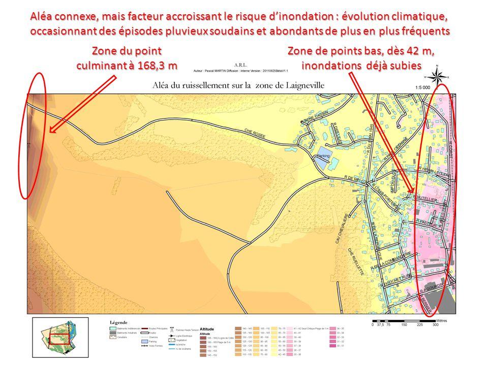 Zone du point culminant à 168,3 m Zone de points bas, dès 42 m, inondations déjà subies Aléa connexe, mais facteur accroissant le risque d'inondation : évolution climatique, occasionnant des épisodes pluvieux soudains et abondants de plus en plus fréquents