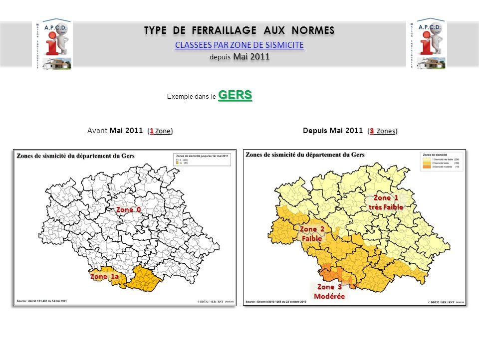TYPE DE FERRAILLAGE AUX NORMES CLASSEES PAR ZONE DE SISMICITE Mai 2011 depuis Mai 2011 TYPE DE FERRAILLAGE AUX NORMES CLASSEES PAR ZONE DE SISMICITE M