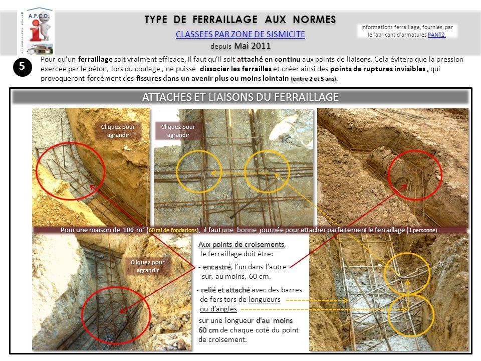 ATTACHES ET LIAISONS DU FERRAILLAGE EN CONTINU (des fondations jusqu' à 1 m dans les poteaux des murs) Le ferraillage vertical, partant, du bas des fondations, doit dépasser celles-ci d'au moins, 1,30 m 1,30 m.